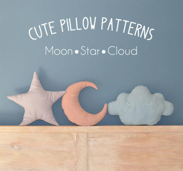 Moon - Star - Cloud Pillow Sewing Pattern // Make your own // Toy Pattern  (en) bei Makerist - Bild 1