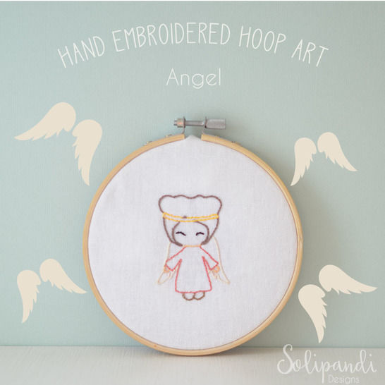 Singing Angel // Hand Embroidery Design PDF Pattern - Instand Digital Download // Great for Beginners // Easy pattern // Solipandi #100 (en) bei Makerist - Bild 1
