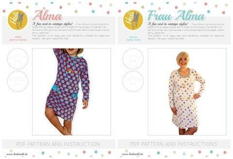"Set: ""Frau Alma"" and ""Alma"" for kids and women."
