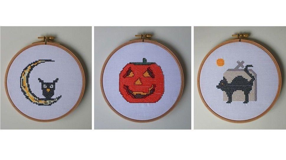 3 Stickdateien im Kreuzstich: Halloween bei Makerist - Bild 1