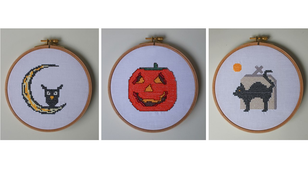 3 Stickdateien im Kreuzstich: Halloween