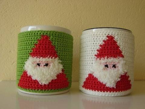 Mug cozy Santa - crochet pattern at Makerist