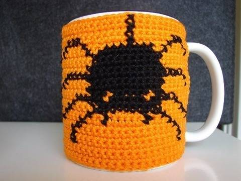 Mug cozy Halloween Spider - crochet pattern at Makerist