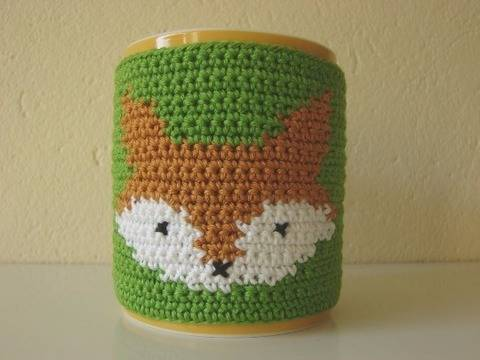 Mug cozy fox - crochet pattern - animal coffee sleeve at Makerist