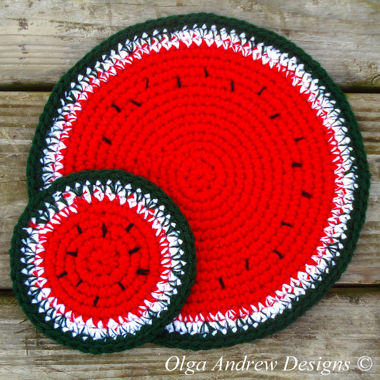 Watermelon doily and coasters crochet pattern 076