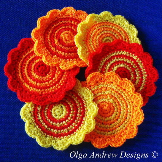 Spriped round coasters crochet pattern 054 at Makerist - Image 1
