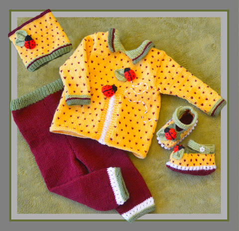 Granadilla Ladybug Top, Pants, Booties & Cap