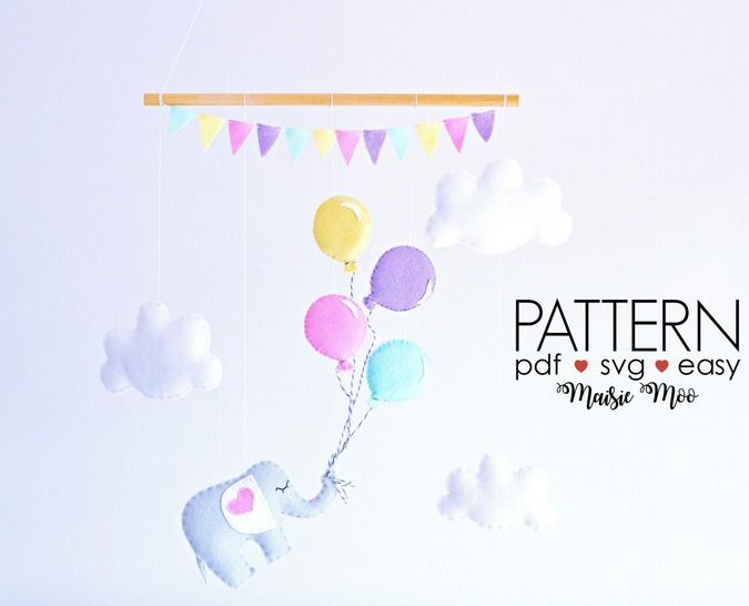 Baby Mobile Pattern - Elephant and Balloons Sewing Pattern at Makerist - Image 1