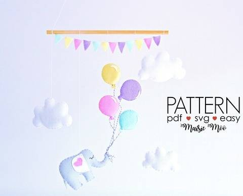 Baby Mobile Pattern - Elephant and Balloons Sewing Pattern at Makerist
