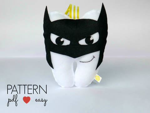 Batman Tooth Pillow  Felt Sewing Pattern at Makerist