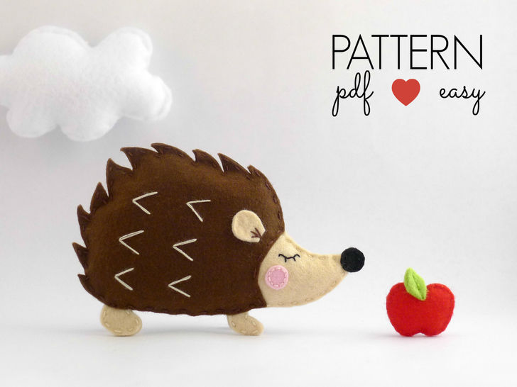 Hedgehog Felt Sewing Pattern - Felt Ornament - Woodland Animal at Makerist - Image 1