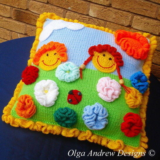 Sunny cushion with appliques knit/crochet pattern 015 at Makerist - Image 1