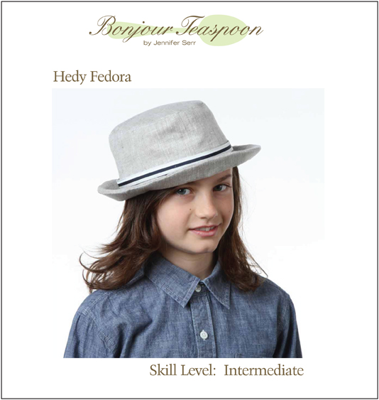 Hedy Fedora Woven Unisex Hat Pdf Sewing Pattern for Kids, Teens and Adults