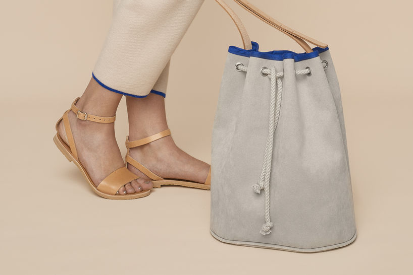 Alcantara or faux leather Bucket Bag with leather straps and piping at Makerist - Image 1