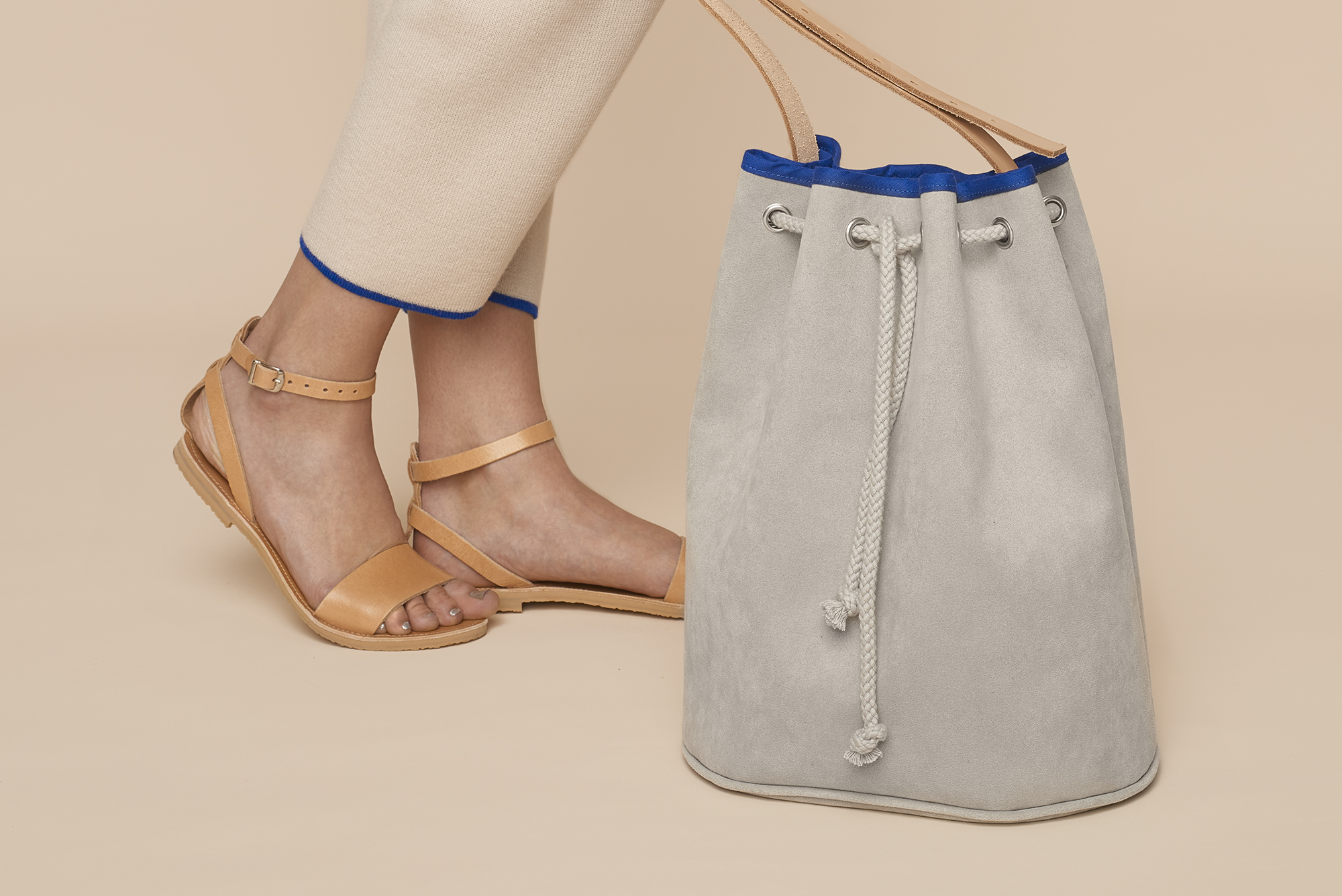 Alcantara or faux leather Bucket Bag with leather straps