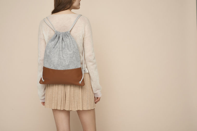 Simple leather and felt drawstring backpack at Makerist - Image 1