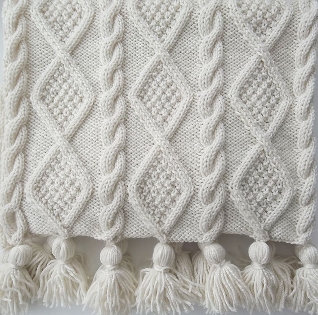 Aran Cable Scarf and Blanket Throw-Knitting Pattern