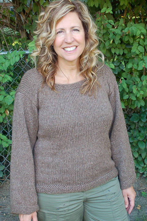 Easy to Knit, women's Pullover with Square Neck