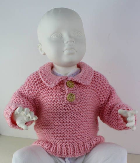 Baby Chunky Garter Stitch Collar Sweater