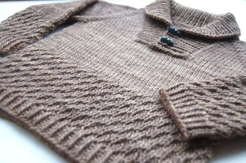 Boy sweater with shawl collar - knitting pattern (en) bei Makerist - Bild 1