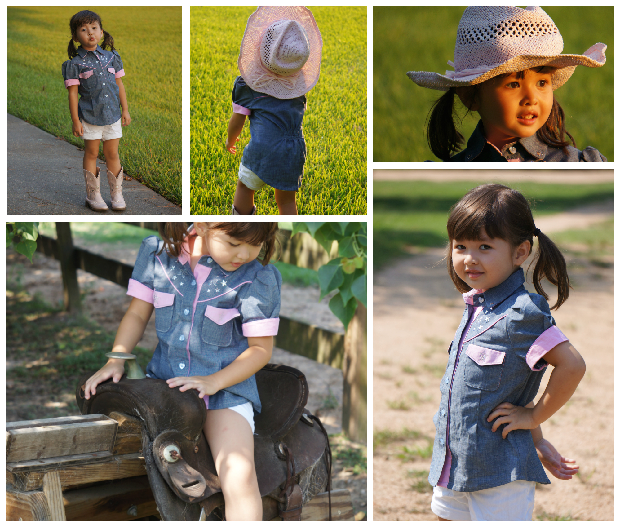 Girls Country and Western style Blouse, PDF Sewing Pattern with Video Tutorial and Photo guide