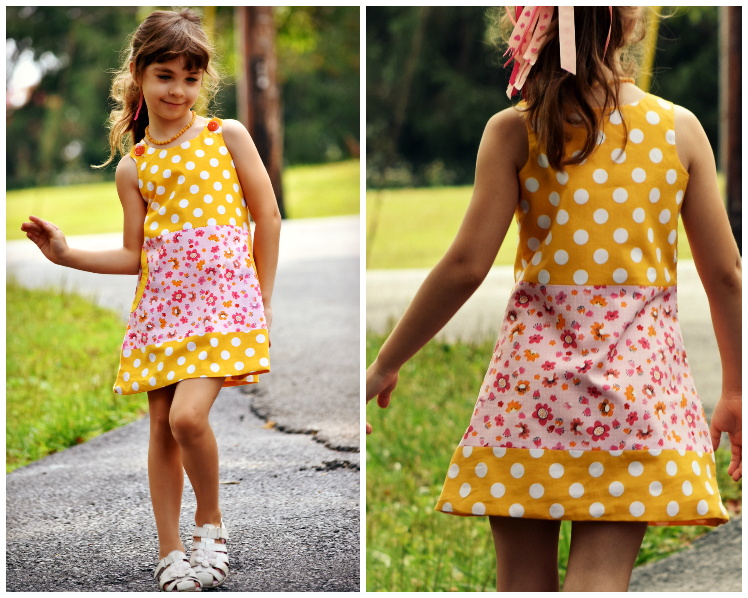 Pinafore dress pattern for toddlers and girls, PDF with Video Tutorial