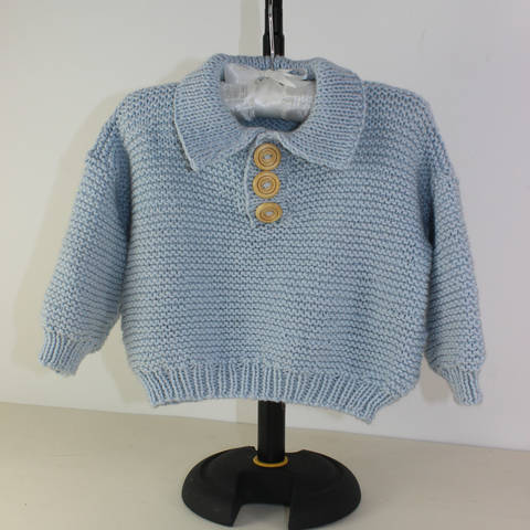 Baby Garter Stitch Collar Sweater