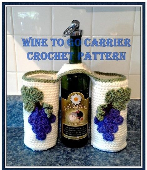 Wine Glasses, Wine and Opener to Go Carrier Crochet Pattern at Makerist - Image 1
