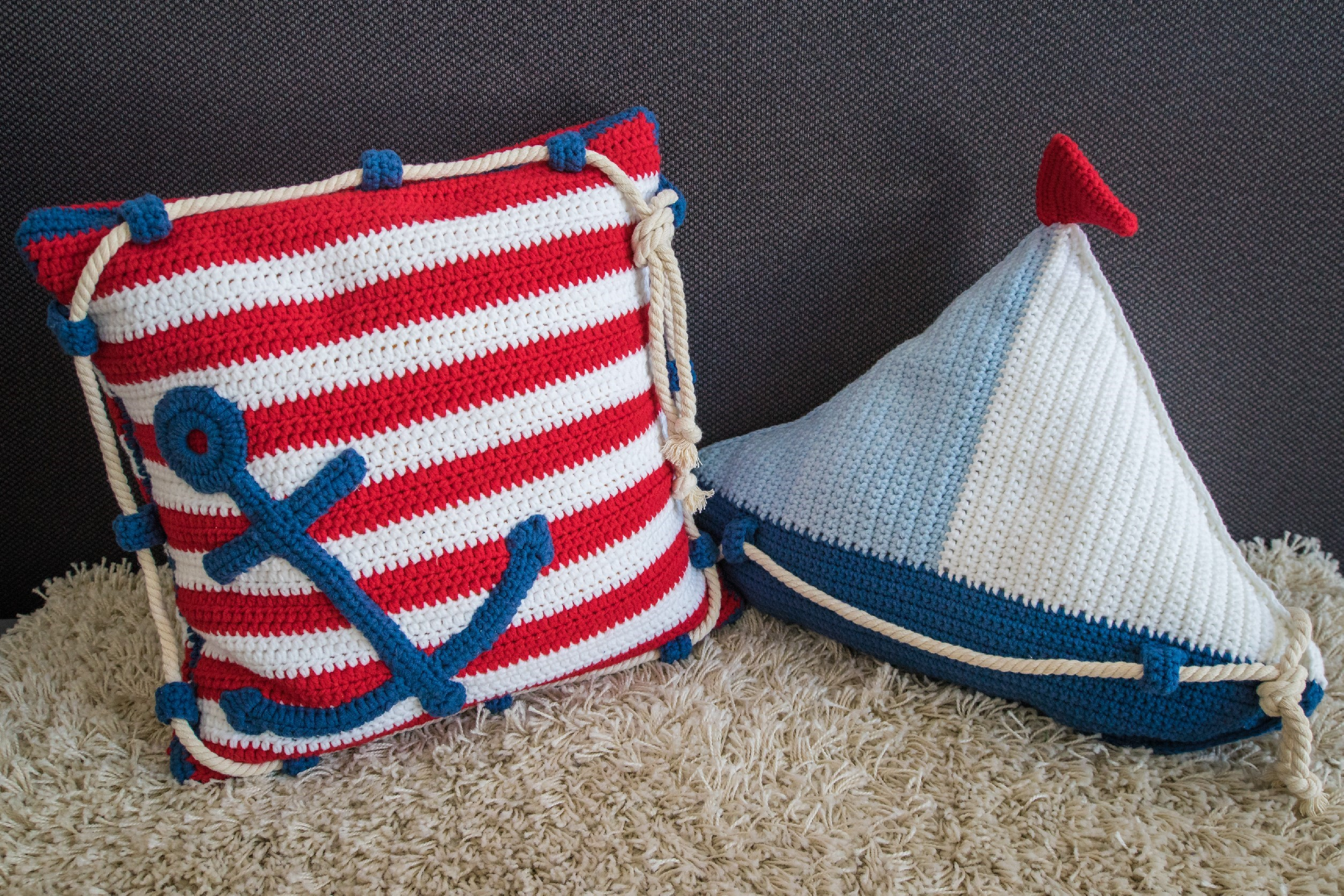 Crochet Pattern Sail Boat Pillow and Anchor Pillow - HANKIDS