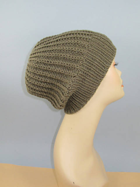 Chunky Simple Fishermans Rib Slouch Hat