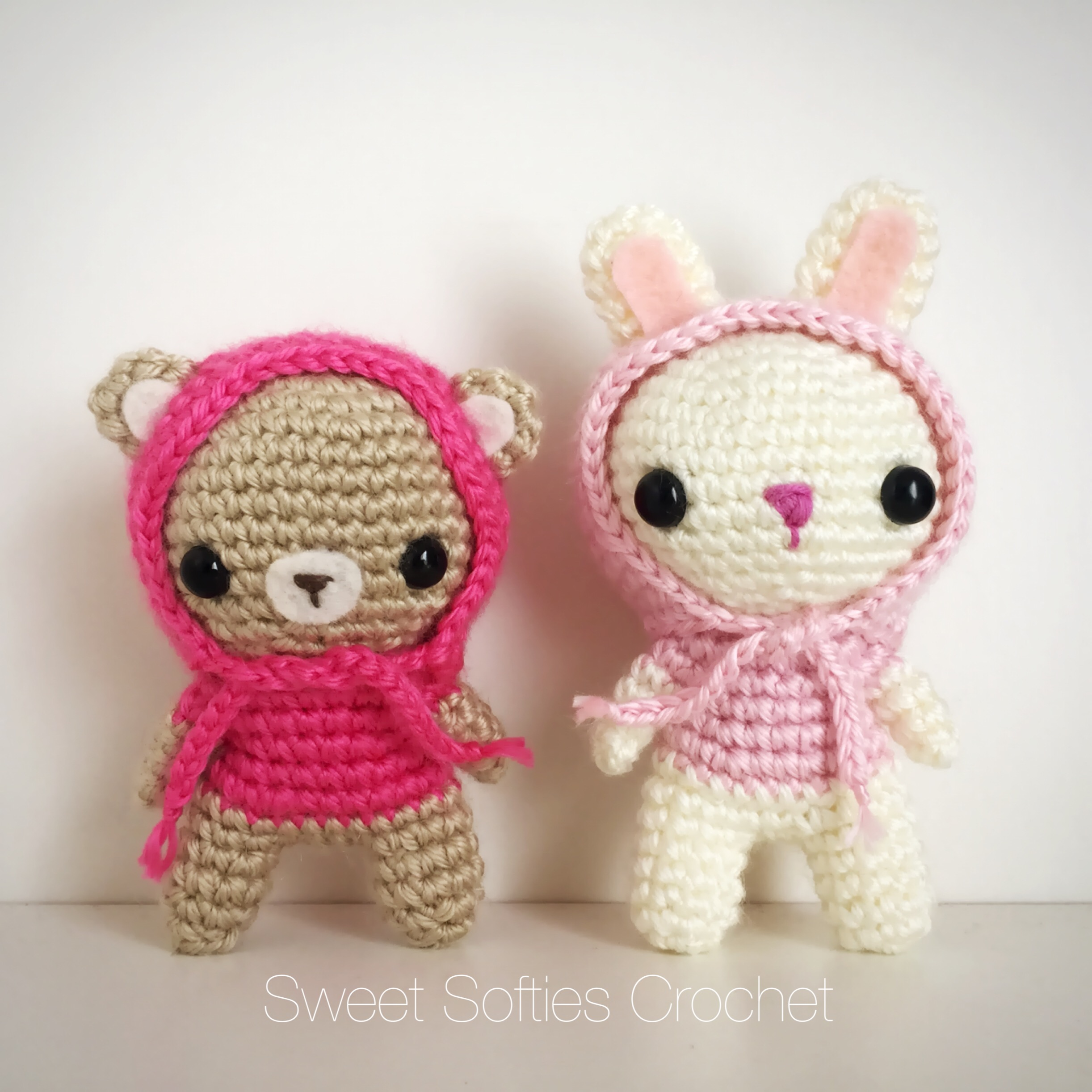 2-PATTERN PACK! Hooded Bunny & Bear Amigurumi Dolls