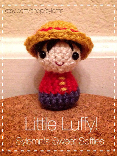 "Luffy ""ONE PIECE"" Tiny Chibi Anime Kokeshi Doll at Makerist - Image 1"