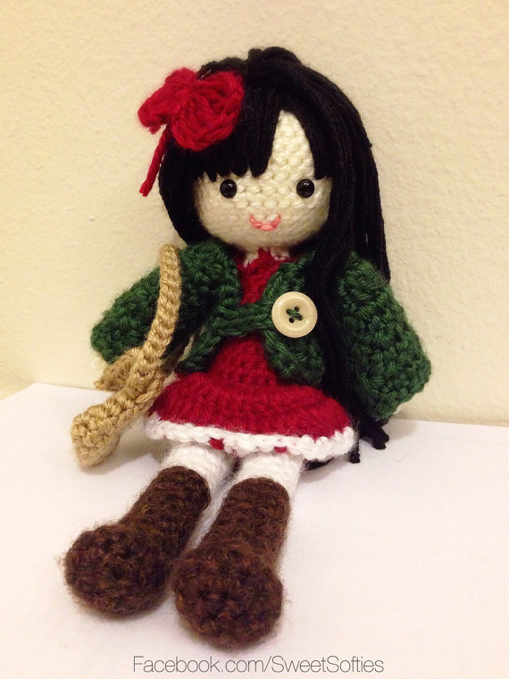 Autumn Girl Amigurumi Doll with Outfit (Cardigan, Dress, Boots, Bag)