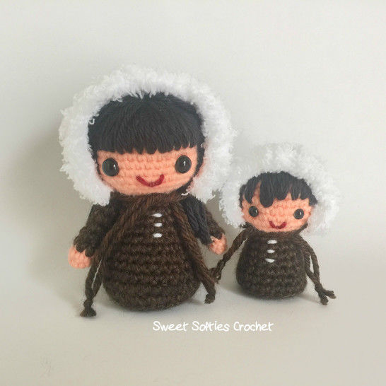 Eskimo Inuit Kokeshi Mama & Baby Amigurumi Dolls at Makerist - Image 1