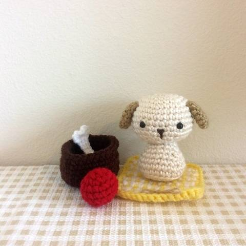 Chibi Puppy Dog Kokeshi Amigurumi Doll (with Rug, Bone, Ball, Basket Bed)