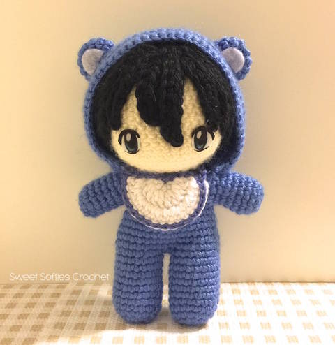 "2-PATTERN PACK! Baby in Bear Onesie Amigurumi Doll (6"" Chibi Doll Base + Outfit, Hair, & Eyes Tutorial)"