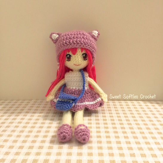 "2-PATTERN PACK! Japanese Anime School Girl Amigurumi Doll (9"" Slender Doll Base + Outfit, Hair, & Eyes Tutorial) at Makerist - Image 1"