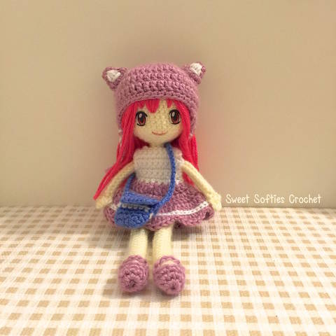 "2-PATTERN PACK! Japanese Anime School Girl Amigurumi Doll (9"" Slender Doll Base + Outfit, Hair, & Eyes Tutorial)"