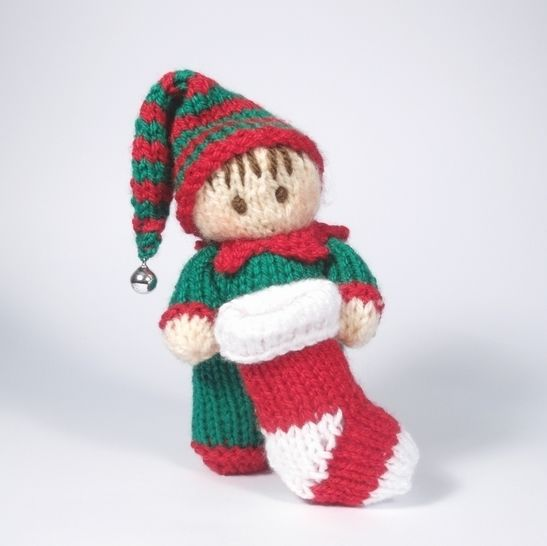 Christmas Boy Elf Bitsy Baby  Doll Knitting Pattern at Makerist - Image 1