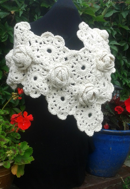 Chunky Rose Crochet Wrap