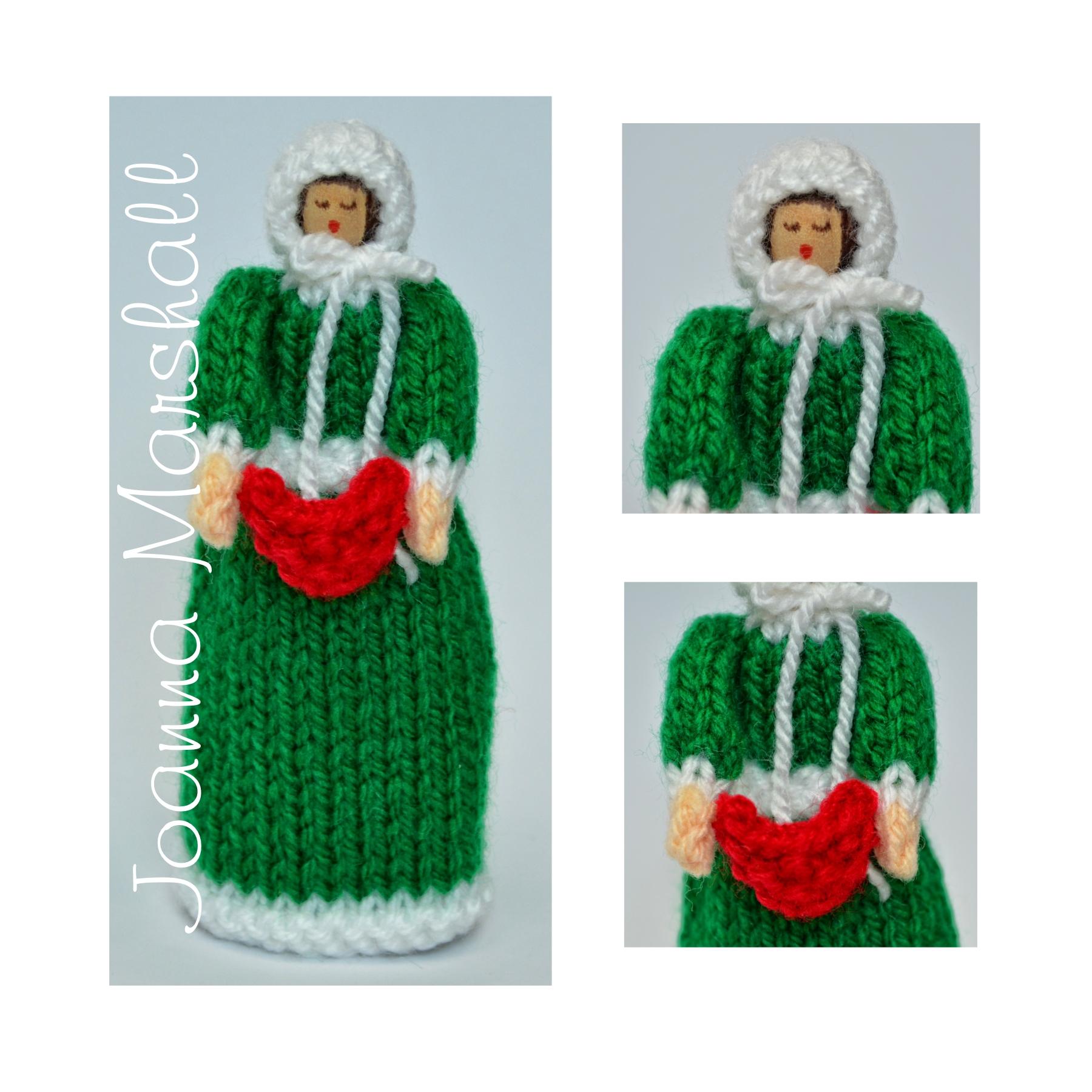 Christmas Carol Singer Peg Doll Knitting Pattern