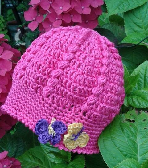 Baby Crochet Hat with Butterfly Pattern