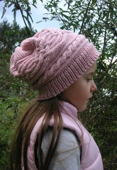Saraqel Mütze Longbeanie Zopfmuster rosa Mädchen