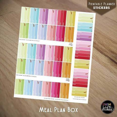 Ausdruckbare Sticker: Meal Plan Boxes