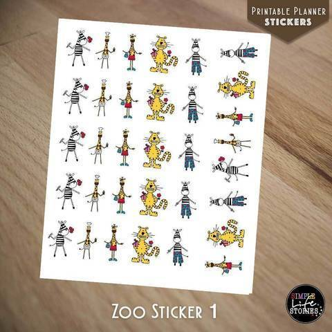 Ausdruckbare Sticker: Zoo Sticker 1 bei Makerist