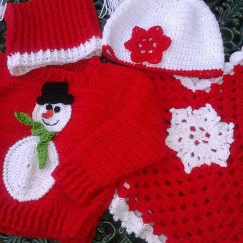 Snowman Jumper Hat and Snowflake Poncho and Hat Crochet Pattern