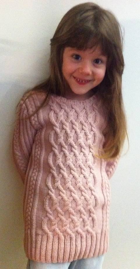 Charmeine Pink Cable Jumper Sweater for Girls 5 years Size 122  at Makerist