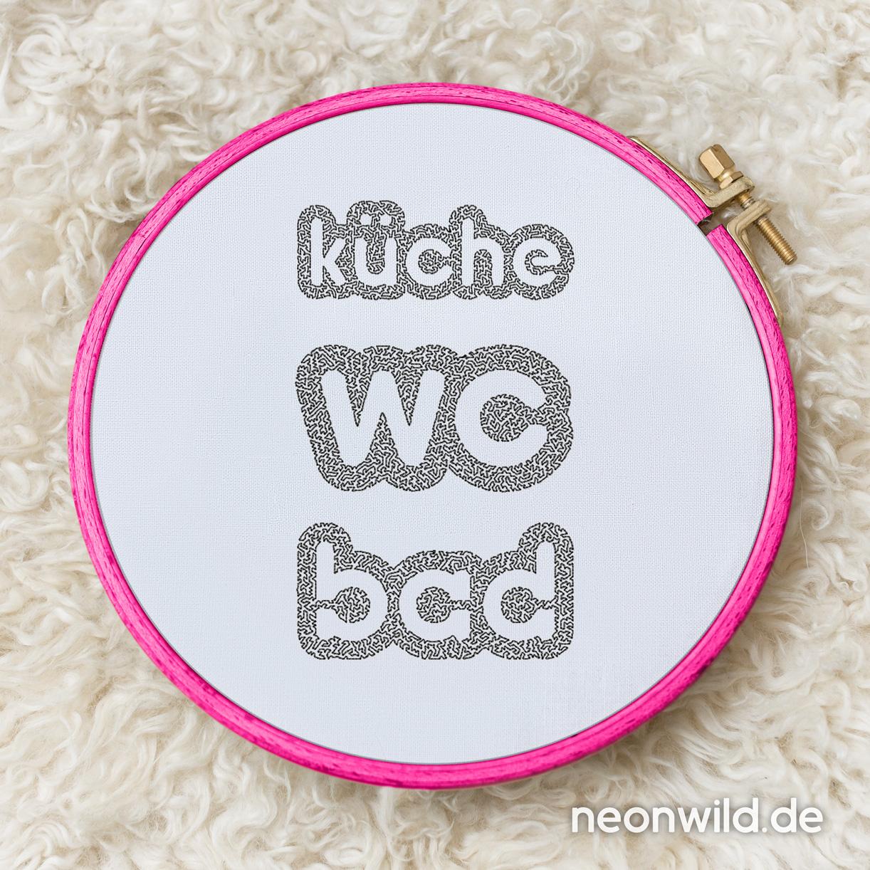 Stickdatei - WC/ Küche/ Bad 3er-Set