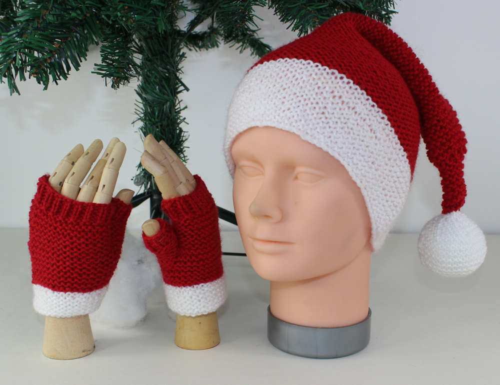 Childrens Santa Hat & Fingerless Gloves