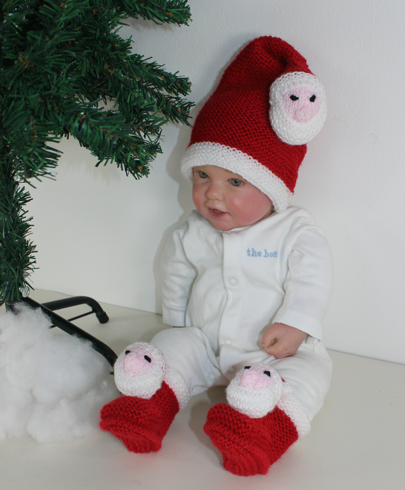 Baby Santa Head Hat and Booties